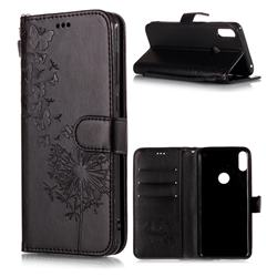 Intricate Embossing Dandelion Butterfly Leather Wallet Case for Asus Zenfone Max Pro (M1) ZB601KL - Black