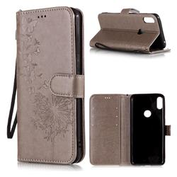 Intricate Embossing Dandelion Butterfly Leather Wallet Case for Asus Zenfone Max Pro (M1) ZB601KL - Gray