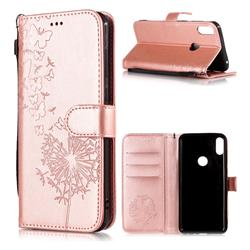 Intricate Embossing Dandelion Butterfly Leather Wallet Case for Asus Zenfone Max Pro (M1) ZB601KL - Rose Gold
