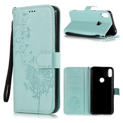 Intricate Embossing Dandelion Butterfly Leather Wallet Case for Asus Zenfone Max Pro (M1) ZB601KL - Green