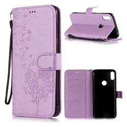 Intricate Embossing Dandelion Leather Wallet Case for Asus Zenfone Max Pro (M1) ZB601KL - Purple