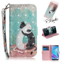 Black and White Cat 3D Painted Leather Wallet Phone Case for Asus Zenfone Max Pro (M1) ZB601KL