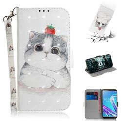 Cute Tomato Cat 3D Painted Leather Wallet Phone Case for Asus Zenfone Max Pro (M1) ZB601KL