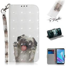Pug Dog 3D Painted Leather Wallet Phone Case for Asus Zenfone Max Pro (M1) ZB601KL