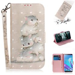 Three Squirrels 3D Painted Leather Wallet Phone Case for Asus Zenfone Max Pro (M1) ZB601KL