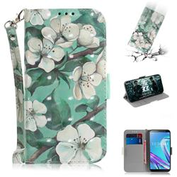 Watercolor Flower 3D Painted Leather Wallet Phone Case for Asus Zenfone Max Pro (M1) ZB601KL