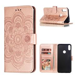 Intricate Embossing Datura Solar Leather Wallet Case for Asus Zenfone Max Pro (M1) ZB601KL - Rose Gold