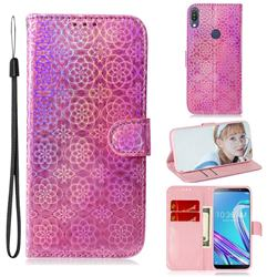 Laser Circle Shining Leather Wallet Phone Case for Asus Zenfone Max Pro (M1) ZB601KL - Pink