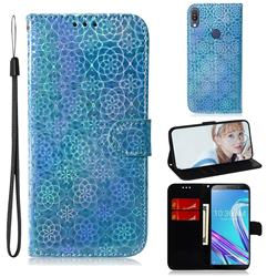 Laser Circle Shining Leather Wallet Phone Case for Asus Zenfone Max Pro (M1) ZB601KL - Blue