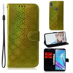 Laser Circle Shining Leather Wallet Phone Case for Asus Zenfone Max Pro (M1) ZB601KL - Golden