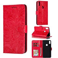 Intricate Embossing Lace Jasmine Flower Leather Wallet Case for Asus Zenfone Max Pro (M1) ZB601KL - Red