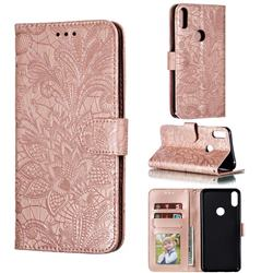 Intricate Embossing Lace Jasmine Flower Leather Wallet Case for Asus Zenfone Max Pro (M1) ZB601KL - Rose Gold