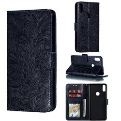 Intricate Embossing Lace Jasmine Flower Leather Wallet Case for Asus Zenfone Max Pro (M1) ZB601KL - Dark Blue