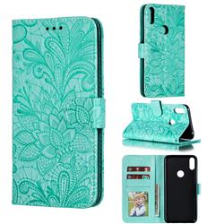 Intricate Embossing Lace Jasmine Flower Leather Wallet Case for Asus Zenfone Max Pro (M1) ZB601KL - Green