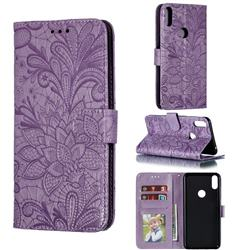 Intricate Embossing Lace Jasmine Flower Leather Wallet Case for Asus Zenfone Max Pro (M1) ZB601KL - Purple