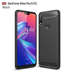 Luxury Carbon Fiber Brushed Wire Drawing Silicone TPU Back Cover for Asus Zenfone Max Pro (M2) ZB631KL - Black