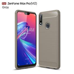 Luxury Carbon Fiber Brushed Wire Drawing Silicone TPU Back Cover for Asus Zenfone Max Pro (M2) ZB631KL - Gray
