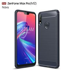 Luxury Carbon Fiber Brushed Wire Drawing Silicone TPU Back Cover for Asus Zenfone Max Pro (M2) ZB631KL - Navy