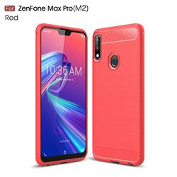 Luxury Carbon Fiber Brushed Wire Drawing Silicone TPU Back Cover for Asus Zenfone Max Pro (M2) ZB631KL - Red