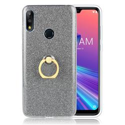 Luxury Soft TPU Glitter Back Ring Cover with 360 Rotate Finger Holder Buckle for Asus Zenfone Max Pro (M2) ZB631KL - Black