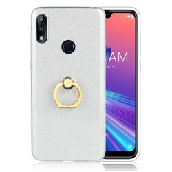 Luxury Soft TPU Glitter Back Ring Cover with 360 Rotate Finger Holder Buckle for Asus Zenfone Max Pro (M2) ZB631KL - White