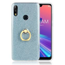 Luxury Soft TPU Glitter Back Ring Cover with 360 Rotate Finger Holder Buckle for Asus Zenfone Max Pro (M2) ZB631KL - Blue