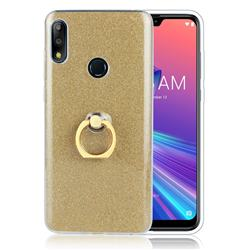 Luxury Soft TPU Glitter Back Ring Cover with 360 Rotate Finger Holder Buckle for Asus Zenfone Max Pro (M2) ZB631KL - Golden