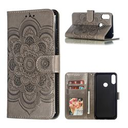 Intricate Embossing Datura Solar Leather Wallet Case for Asus Zenfone Max Pro (M2) ZB631KL - Gray