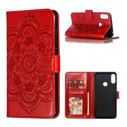 Intricate Embossing Datura Solar Leather Wallet Case for Asus Zenfone Max Pro (M2) ZB631KL - Red