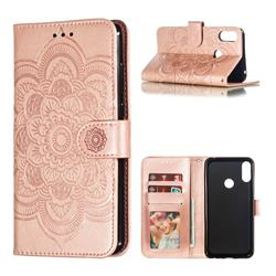 Intricate Embossing Datura Solar Leather Wallet Case for Asus Zenfone Max Pro (M2) ZB631KL - Rose Gold