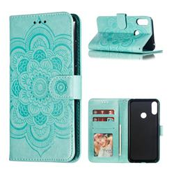 Intricate Embossing Datura Solar Leather Wallet Case for Asus Zenfone Max Pro (M2) ZB631KL - Green