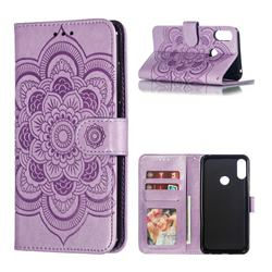 Intricate Embossing Datura Solar Leather Wallet Case for Asus Zenfone Max Pro (M2) ZB631KL - Purple