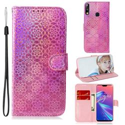 Laser Circle Shining Leather Wallet Phone Case for Asus Zenfone Max Pro (M2) ZB631KL - Pink