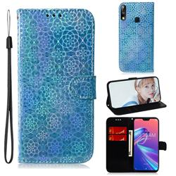 Laser Circle Shining Leather Wallet Phone Case for Asus Zenfone Max Pro (M2) ZB631KL - Blue