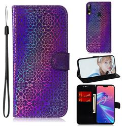 Laser Circle Shining Leather Wallet Phone Case for Asus Zenfone Max Pro (M2) ZB631KL - Purple