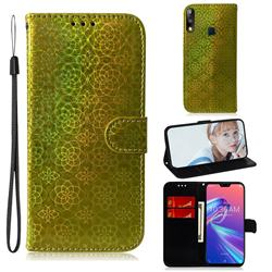 Laser Circle Shining Leather Wallet Phone Case for Asus Zenfone Max Pro (M2) ZB631KL - Golden