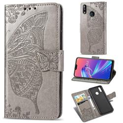 Embossing Mandala Flower Butterfly Leather Wallet Case for Asus Zenfone Max Pro (M2) ZB631KL - Gray