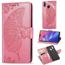 Embossing Mandala Flower Butterfly Leather Wallet Case for Asus Zenfone Max Pro (M2) ZB631KL - Pink