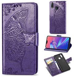 Embossing Mandala Flower Butterfly Leather Wallet Case for Asus Zenfone Max Pro (M2) ZB631KL - Dark Purple