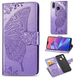 Embossing Mandala Flower Butterfly Leather Wallet Case for Asus Zenfone Max Pro (M2) ZB631KL - Light Purple
