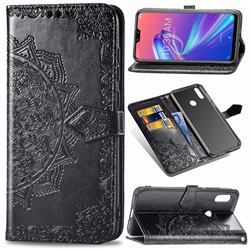Embossing Imprint Mandala Flower Leather Wallet Case for Asus Zenfone Max Pro (M2) ZB631KL - Black