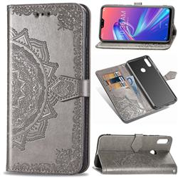 Embossing Imprint Mandala Flower Leather Wallet Case for Asus Zenfone Max Pro (M2) ZB631KL - Gray