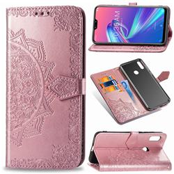 Embossing Imprint Mandala Flower Leather Wallet Case for Asus Zenfone Max Pro (M2) ZB631KL - Rose Gold