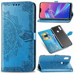 Embossing Imprint Mandala Flower Leather Wallet Case for Asus Zenfone Max Pro (M2) ZB631KL - Blue