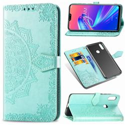 Embossing Imprint Mandala Flower Leather Wallet Case for Asus Zenfone Max Pro (M2) ZB631KL - Green