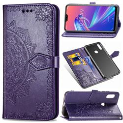 Embossing Imprint Mandala Flower Leather Wallet Case for Asus Zenfone Max Pro (M2) ZB631KL - Purple
