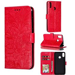 Intricate Embossing Lace Jasmine Flower Leather Wallet Case for Asus Zenfone Max Pro (M2) ZB631KL - Red