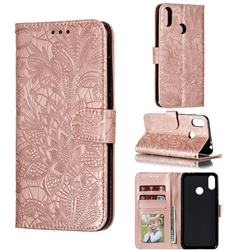 Intricate Embossing Lace Jasmine Flower Leather Wallet Case for Asus Zenfone Max Pro (M2) ZB631KL - Rose Gold