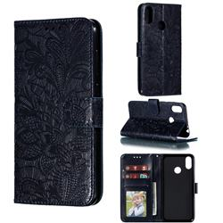 Intricate Embossing Lace Jasmine Flower Leather Wallet Case for Asus Zenfone Max Pro (M2) ZB631KL - Dark Blue