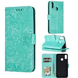 Intricate Embossing Lace Jasmine Flower Leather Wallet Case for Asus Zenfone Max Pro (M2) ZB631KL - Green